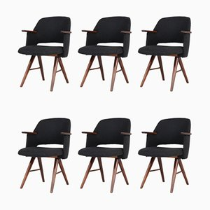 Teak & Velvet FE30 Dining Chairs by Cees Braakman for Pastoe, 1960s, Set of 6