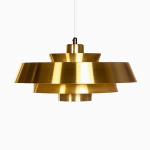 Danish Brass Nova Ceiling Lamp by Johannes Hammerborg for Fog & Mørup, 1960s