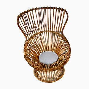 Italian Fabric and Rattan Lounge Chair by Franco Albini for Vittorio Bonacina, 1960s