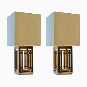 Italian Modern Brass and Chrome Table Lamps with Cream Shades, 1970s, Set of 2