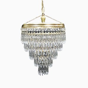 Italian Art Deco Five-Tier Crystal Glass Chandelier, 1940s