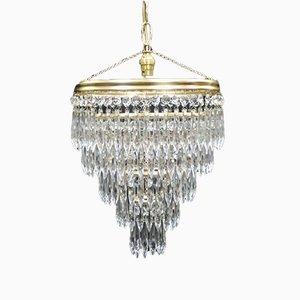 Lámpara de araña italiana Art Déco de cristal de cinco niveles, años 40