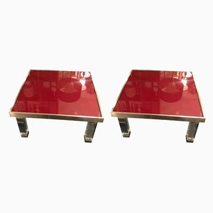 French Glass and Metal Side Tables, 1970s, Set of 2