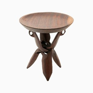 African Solid Wood Pedestal Table, 1960s