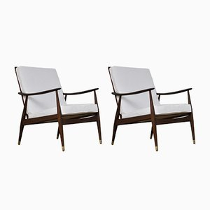Danish Wooden Lounge Chairs, 1960s, Set of 2