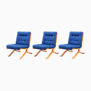 Danish Cotton and Plywood Lounge Chairs, 1970s, Set of 3