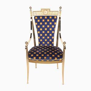 Vintage Italian Brass Armchair by Gianni Versace, 1980s