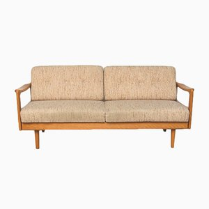 Mid-Century Beech and Fabric Sofa, 1960s