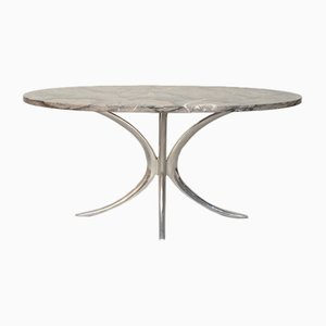 Tavolo da pranzo vintage in acciaio cromato e acciaio, Italia, anni '70