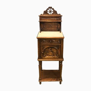 Antique Hand-Crafted French Wooden Nightstand