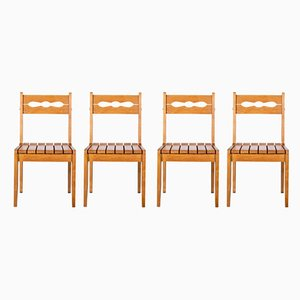French Oak Dining Chairs by Guillerme et Chambron for Votre Maison, 1960s, Set of 4