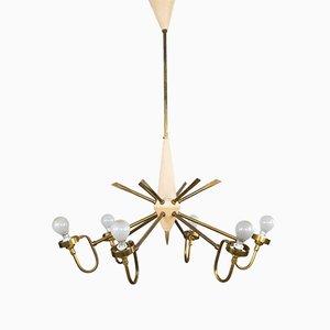Lámpara de araña Sputnik Mid-Century de latón, años 60