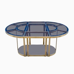 Brass and Colored Glass Tripartite Dining Table, 1970s