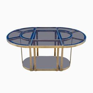 Esstisch mit Gestell aus Messing & Farbglasplatte, 1970er