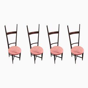 Esszimmerstühle mit Samtsitz von Sant'Ambrogio & De Berti, 1950er, 4er Set
