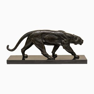 Bronze & Marble Art Deco Lion Sculpture by Alexandre Ouline, 1930s