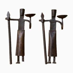 Französische Kerzenhalter aus Schmiedeeisen, 1950er, 2er Set