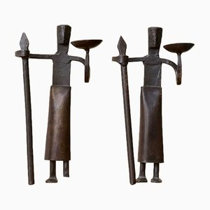 French Wrought Iron Candleholders, 1950s, Set of 2