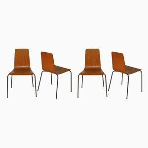 Vintage Danish Metal and Teak Dining Chairs, 1960s, Set of 4