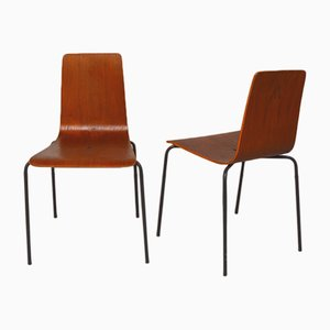 Vintage Danish Metal and Teak Dining Chairs, 1960s, Set of 2