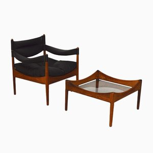 Vintage Danish Lounge Chair and Rosewood Table by Kristian Vedel for Søren Willadsen Møbelfabrik, 1960s