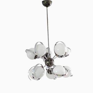 Lámpara de araña Sputnik italiana Mid-Century de cromado y vidrio esmerilado