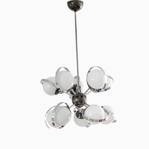 Mid-Century Italian Chrome Plating and Frosted Glass Sputnik Chandelier