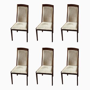 Wood and Velvet Dining Chairs, 1970s, Set of 6