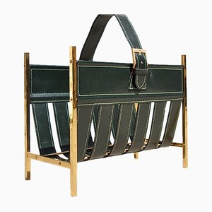 Mid-Century French Brass and Leather Magazine Rack, 1960s