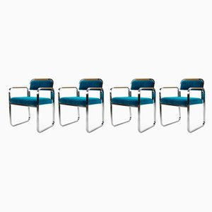 Italian Beech, Chrome Plating, and Velvet Armchairs, 1970s, Set of 4