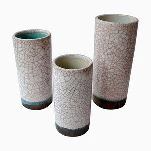 Modernist Ceramic and Faience Vases, 1960s, Set of 3