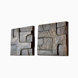 Square Brutalist Bronze Push and Pull Door Handles, 1970s, Set of 2