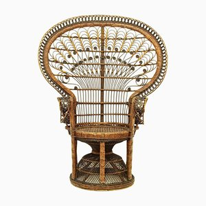 Peacock Wicker Lounge Chair, 1950s