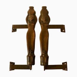Tiradores modernos de bronce con figuras de ninfas. Juego de 2