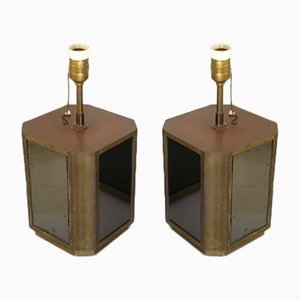 Brass and Mirror Table Lamps by Christian Leroy, 1960s, Set of 2