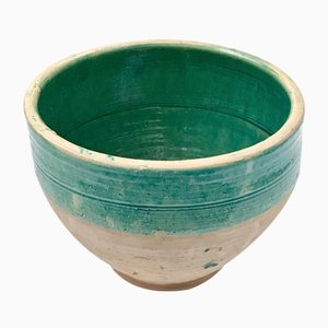 Large Handmade Rustic Farmhouse Blue-Green Glazed Terracotta Pot by Golnaz
