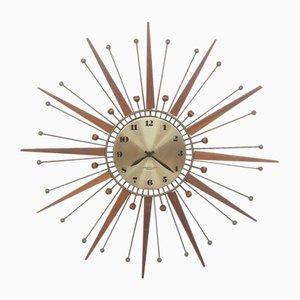 Reloj Mid-Century de acero y teca, años 60