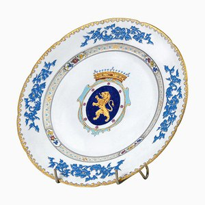 Plato decorativo belga antiguo de porcelana de Tournay