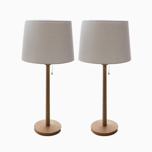 Lámparas de mesa escandinavas modernas con base de roble de Uno & Östen Kristiansson, años 60. Juego de 2