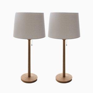 Scandinavian Modern Table Lamps with Oak Base by Uno & Östen Kristiansson, 1960s, Set of 2