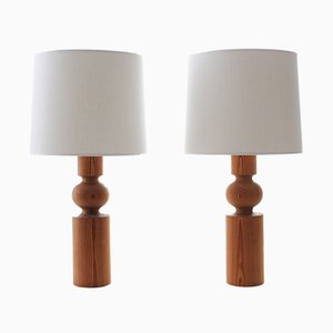 Scandinavian Modern Pinus Table Lamps with Pine Base by Uno & Östen Kristiansson for Luxus, 1970s, Set of 2