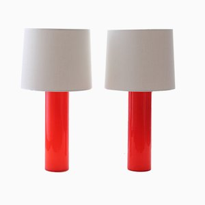 Scandinavian Modern Table Lamps with Red Glass by Uno & Östen Kristiansson for Luxus, 1968, Set of 2