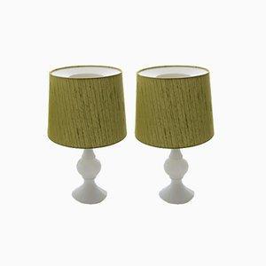 Lampade da tavolo moderne con base in vetro opalino di Uno & Östen Kristiansson per Luxus, Scandinavia, anni '60, set di 2