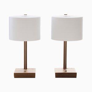 Lampade da tavolo moderne con base in quercia di Uno & Östen Kristiansson per Luxus, Scandinavia, anni '60, set di 2