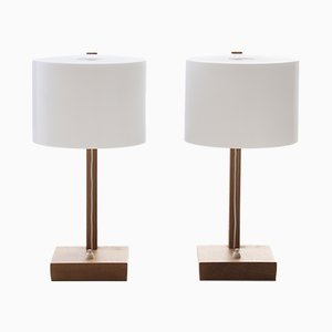 Scandinavian Modern Table Lamps with Oak Base by Uno & Östen Kristiansson for Luxus, 1960s, Set of 2