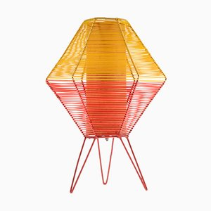 Mid-Century German Red & Yellow Metal and Polyamide Nylon Table Lamp, 1950s