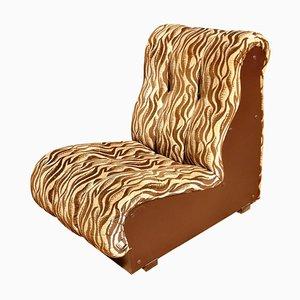 Italienischer Mid-Century Sessel mit Stoffbezug & Holzschale, 1960er