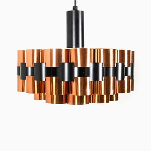 Danish Copper and Metal Ceiling Lamp by Werner Schou for Coronell Elektro, 1960s
