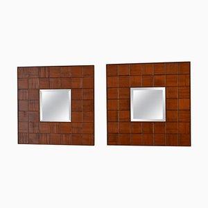 Italienische Mid-Century Spiegel mit handgeschnitzten Holzrahmen von GJ, 1960er, 2er Set