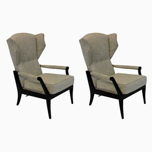 Italian Fabric and Wood Reclining Lounge Chairs, 1950s, Set of 2